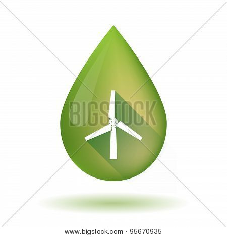 Olive Oil Drop Icon With A Wind Generator