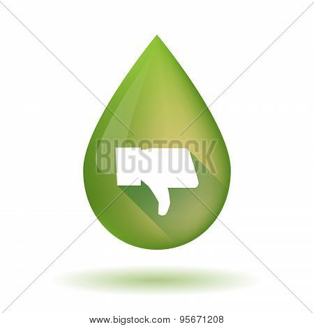 Olive Oil Drop Icon With A Thumb Down Hand