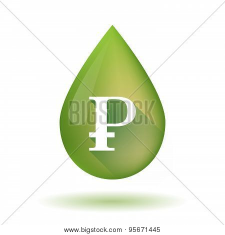 Olive Oil Drop Icon With A Ruble Sign
