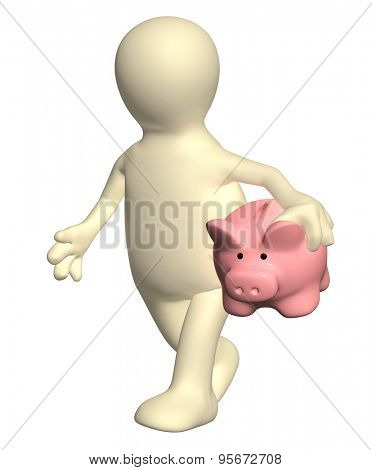 3d puppet walking with piggy bank. Isolated no white background
