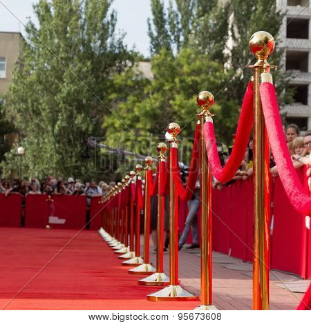 Odessa, Ukraine - July 10, 2015: Way To Success On The Red Carpet (barrier Rope). Odessa Internation