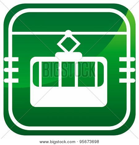 Cable Way Funicular Green Icon Isolated