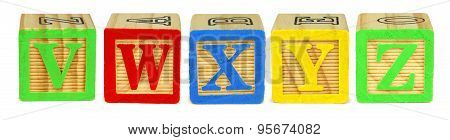 V W X Y Z toy wooden letter blocks