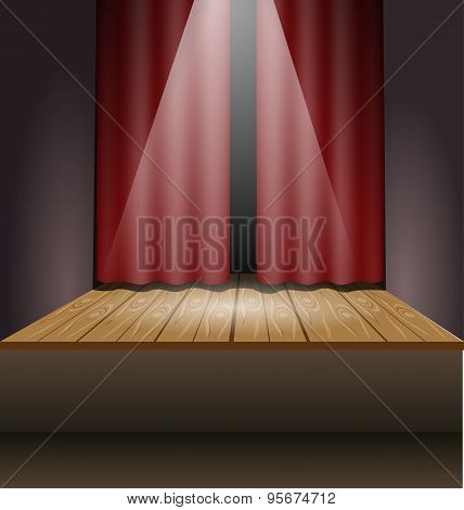 Scene With Lights And Curtain