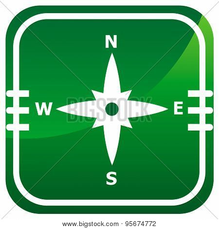 Compass Directions - Vector Green Icon Isolated