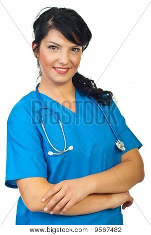 Smiling Doctor Woman With Arms Folded