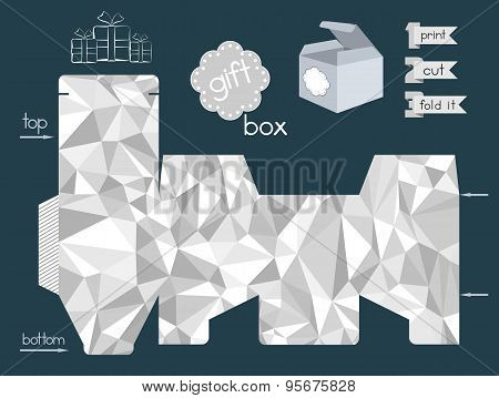 Printable Gift Box With Crumpled Paper Texture Imitation