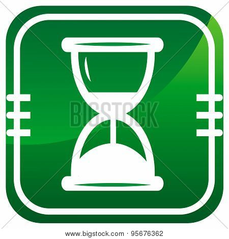 Hourglass Time Green Icon Isolated