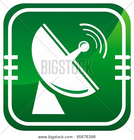 Radio Radar Transmitting Signal - Green Icon Isolated