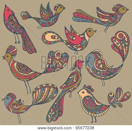 Set Of Cute Ornamental Hand Drawn Birds