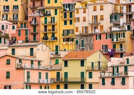 Colorful Buildings In Manarola Cinque Terre Liguria Italy