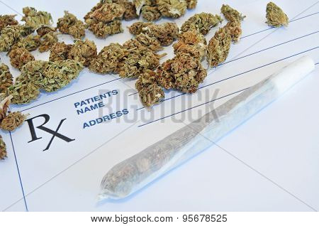 Medical marijuana buds with joint and prescription paper