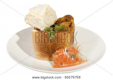 Takeaway Bunny Chow Served With Carrot Sambal And Dhunia