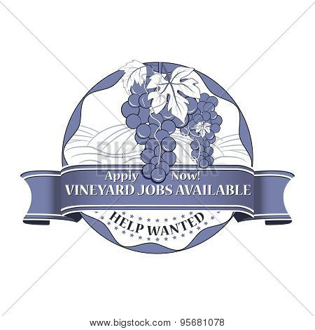 Vineyard Jobs Available stamp for print.