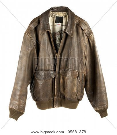 Leather Military flight Jacket zipped up isolated on white