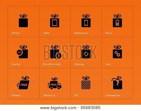 Presents box icons on orange background.