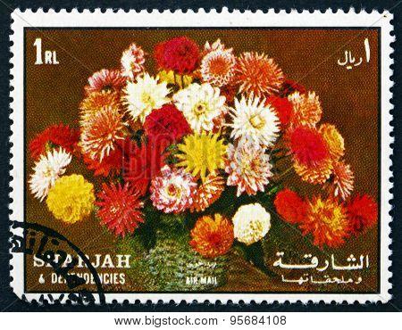 Postage Stamp Sharjah 1972 Flower Bouquet, Dahlias
