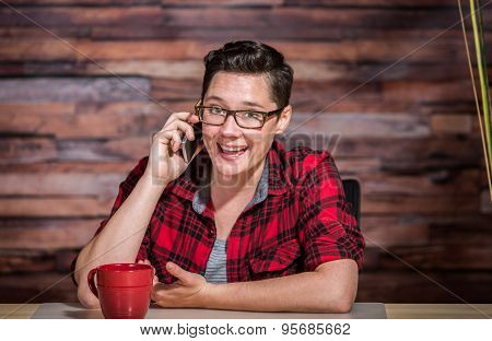 Enthusiastic Woman On Smart Phone