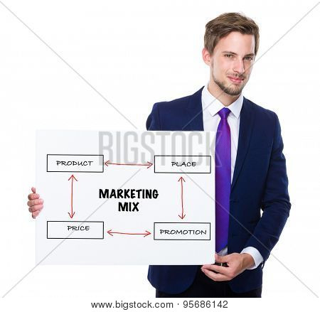 Man with white banner presenting marketing mix concept
