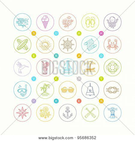 Line drawing vector icon set - Summer vacation, holidays and travel emblems signs and symbols