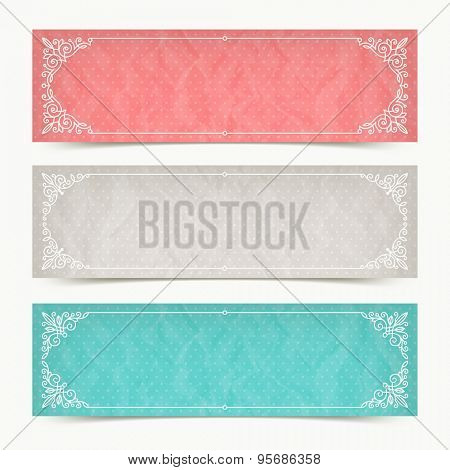 Paper color banners with flourishes calligraphic elegant ornamental frames - vector illustration