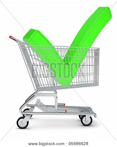 Tick sign in shopping cart