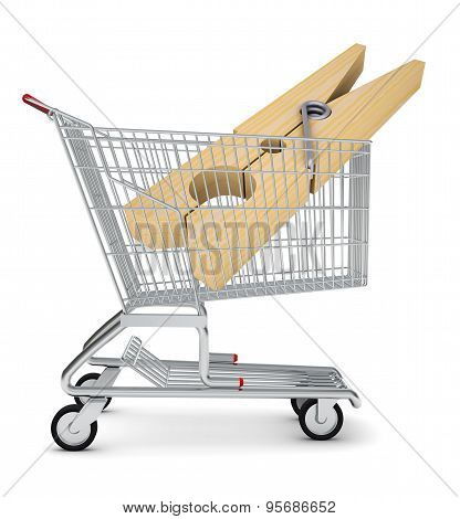 Clothes peg in shopping cart
