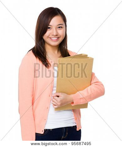 Woman holding with folder