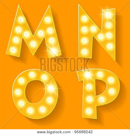 Vector yellow lamp alphabet for theatre, cinema and other entertainment. Letters M N O P