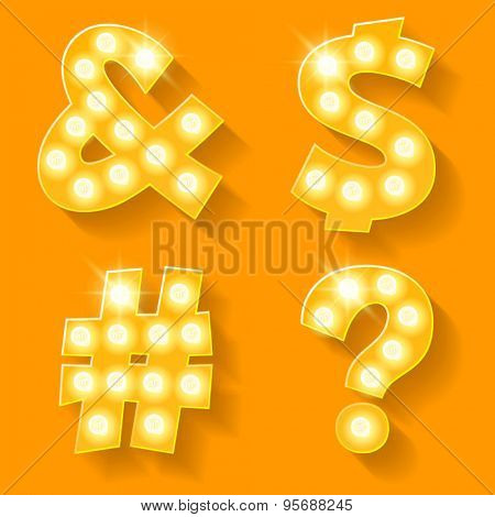 Vector yellow lamp alphabet for theatre, cinema and other entertainment. Symbols