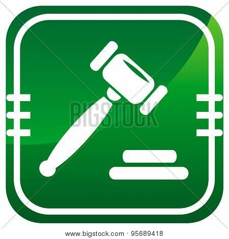 Auction Gavel Green Icon.