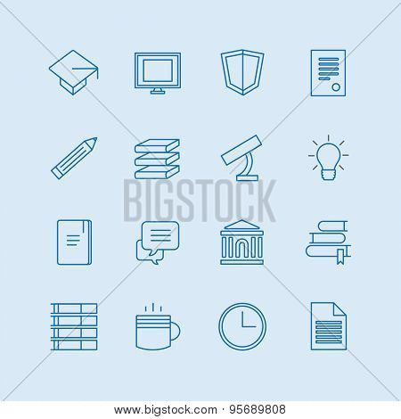 Education vector icons set. Education, students or school symbols. Stock design elements