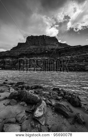 Colorado River At Lees Ferry Black And White Vertical