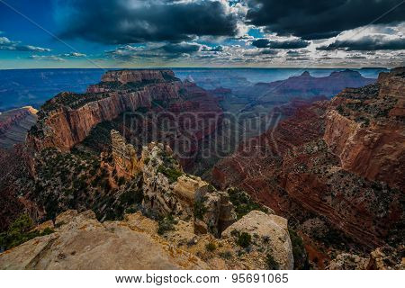Grand Canyon North Rim Cape Royal Overlook At Sunset