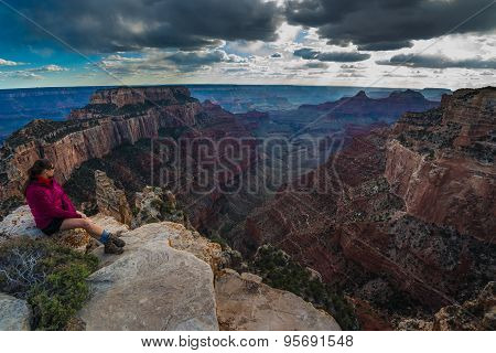 Hiker Looking Down Cape Royal Overlook Grand Canyon North Rim Wotans Throne