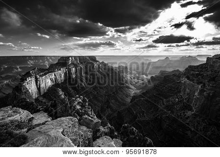 Grand Canyon North Rim Cape Royal Overlook At Sunset Wotans Throne