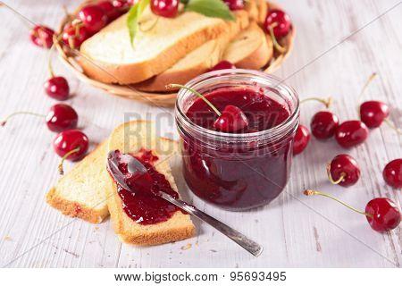 cherry jam and toast