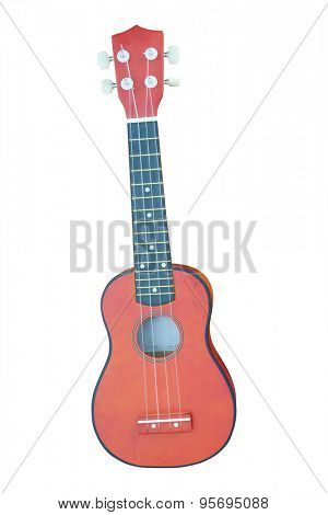 The image of an ukulele isolated under the white background