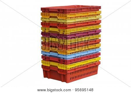 heap of plastic boxes isolated