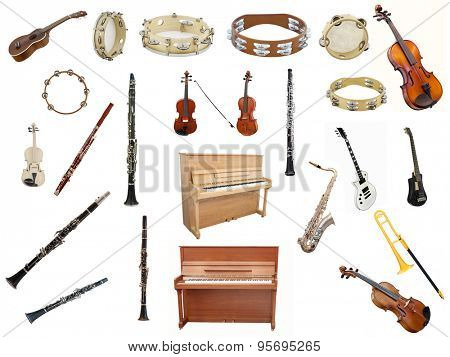Different music instruments isolated under the white background