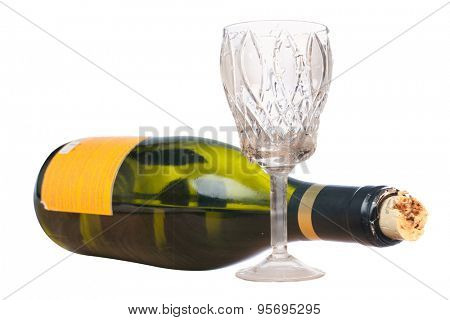 wine bottle and wine-glass under the white background