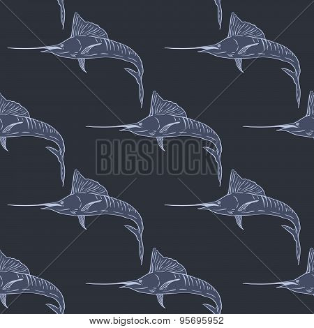 Swordfish seamless vector pattern dark background