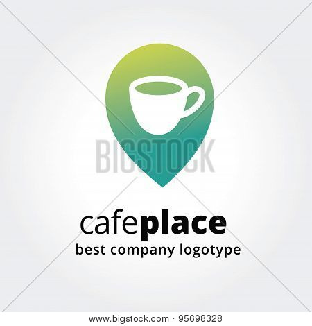 Abstract coffe cup marker for maps logotype concept isolated on white background. Key ideas is busin