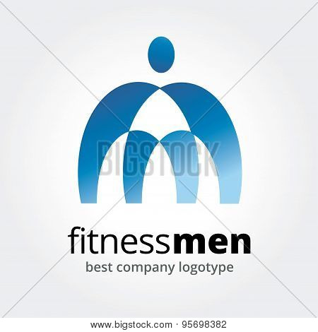 Abstract logo elements. Sport, men, power and command. Stock illustration for design