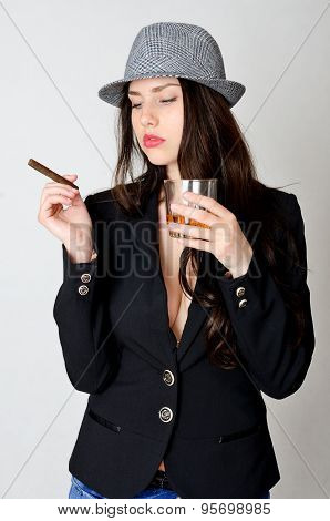 Young Girl With Drink And Cigar