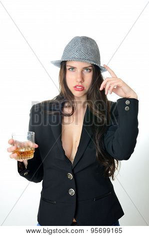 Girl With Hat And Drink