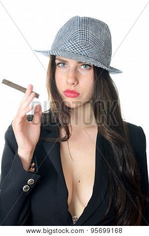 Confident Girl With Cigar