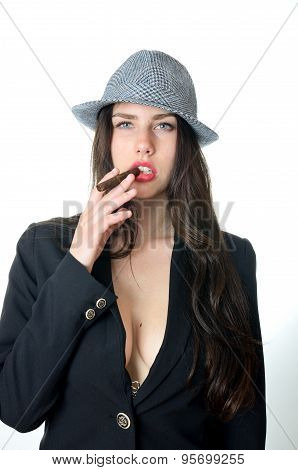 Girl With Cigar In Mouth