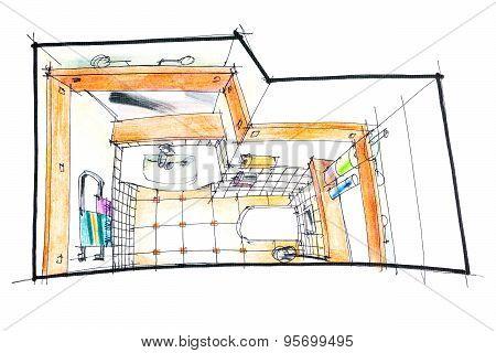 Bathroom Sketch Top View