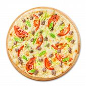 picture of leek  - Delicious seafood pizza with tuna fish tomatoes and leek  - JPG